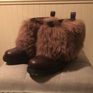 NEW UGGS FUR PURE WOOL BROWN HEELED SIZE 7.5